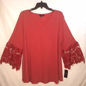 NWT Alfani Cherry Red Lace Sleeve Tunic Top 2X